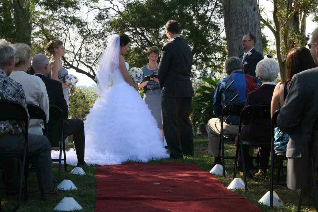 Image of bride and groom holding hands while celebrant speaks during ceremony.